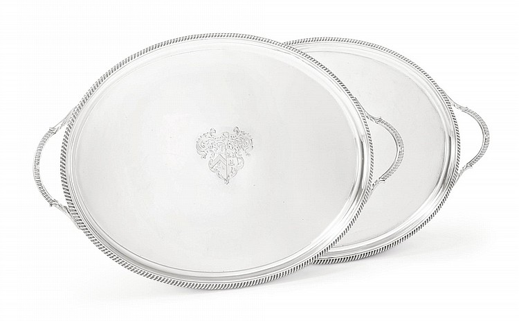 A PAIR OF GEORGE III SILVER TWO-HANDLED TRAYS, WILLIAM BENNETT, LONDON, 1817 |