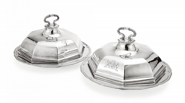 A PAIR OF GEORGE III SILVER VEGETABLE DISHES WITH COVERS, JOHN WAKELIN & WILLIAM TAYLOR, LONDON, 1780 |