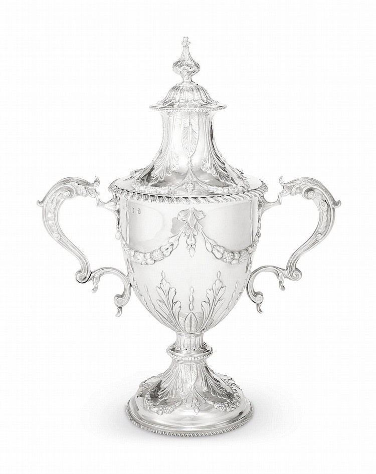A GEORGE III SILVER TWO-HANDLED CUP AND COVER, CHARLES WRIGHT, LONDON, 1771 |