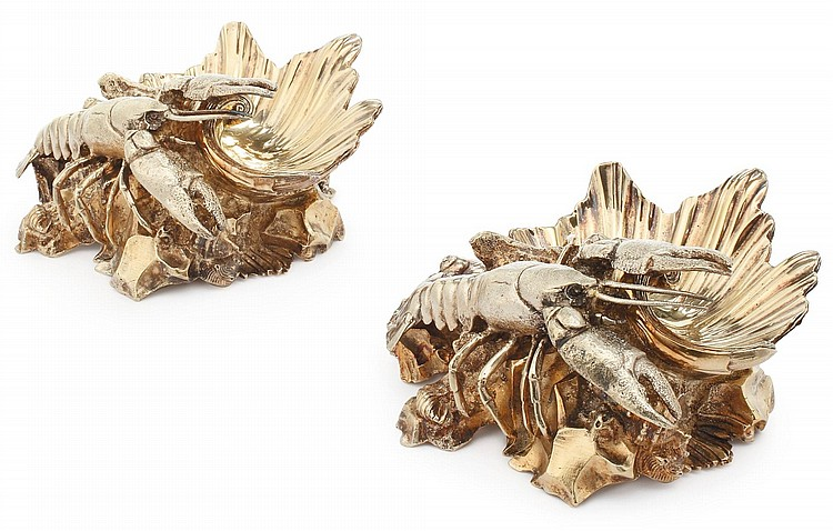 A PAIR OF ENGLISH SILVER-GILT