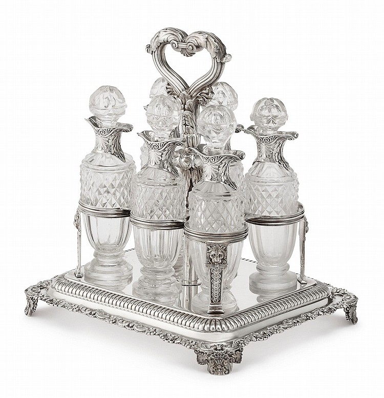 A REGENCY SILVER SIX-BOTTLE SOY CRUET FRAME, PAUL STORR, LONDON, 1818 |