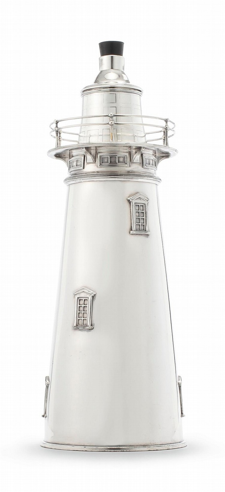 AN AMERICAN SILVER-PLATED LIGHTHOUSE COCKTAIL SHAKER, INTERNATIONAL SILVER CO., MERIDEN, CT, CIRCA 1930 |
