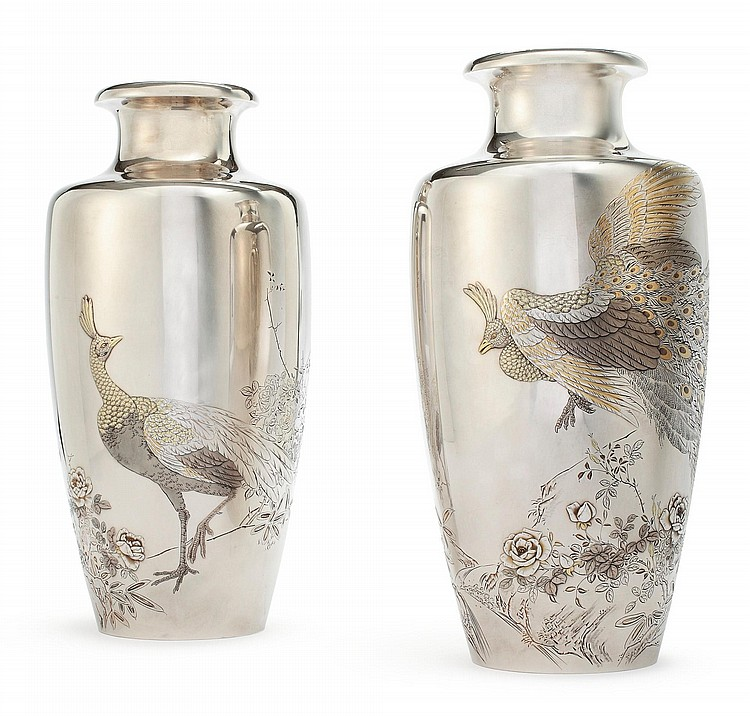 A PAIR OF JAPANESE EXPORT SILVER AND MIXEDMETAL VASES, CIRCA 1900 |