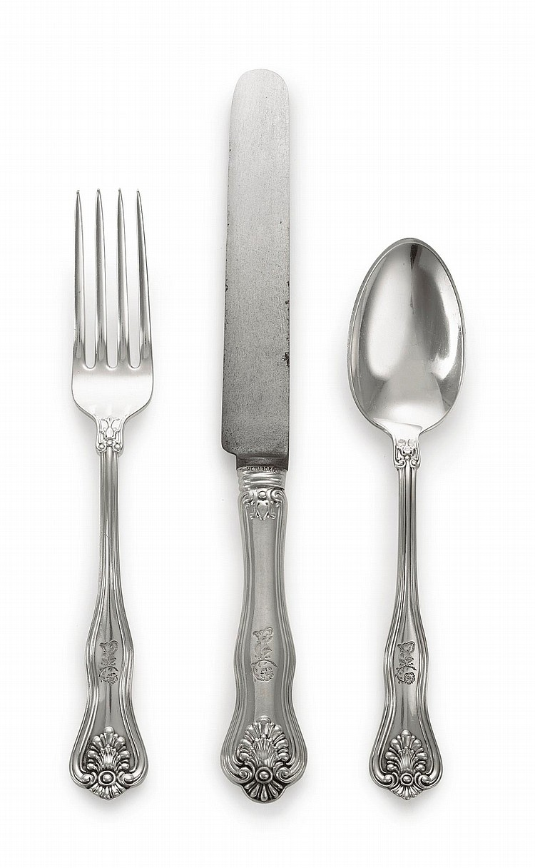 AN AMERICAN SILVER ALEXANDRA PATTERN FLATWARE SERVICE, DOMINICK & HAFF, RETAILED BY HOWARD & CO., NEW YORK, EARLY 20TH CENTURY |