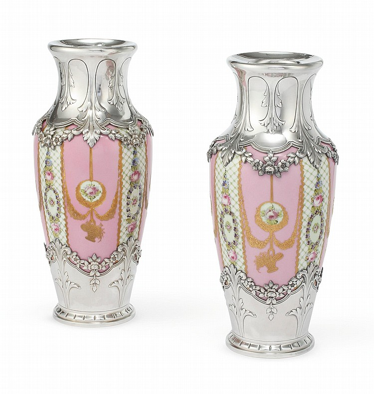A PAIR OF FRENCH SILVER-MOUNTED SÈVRES-STYLE PORCELAIN VASES, THE MOUNTS BY HENRI LAPEYRE, PARIS, CIRCA 1910 |