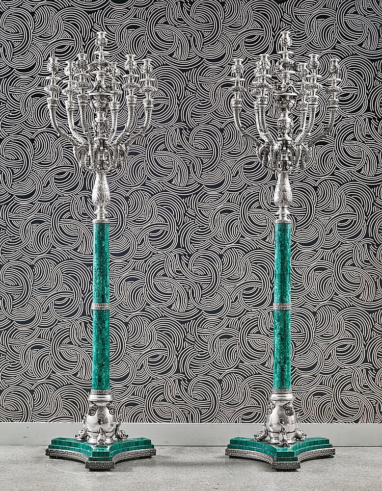 A PAIR OF MONUMENTAL SILVER AND MALACHITE SEVEN-LIGHT CANDELABRA, PROBABLY ITALIAN, 20TH CENTURY |