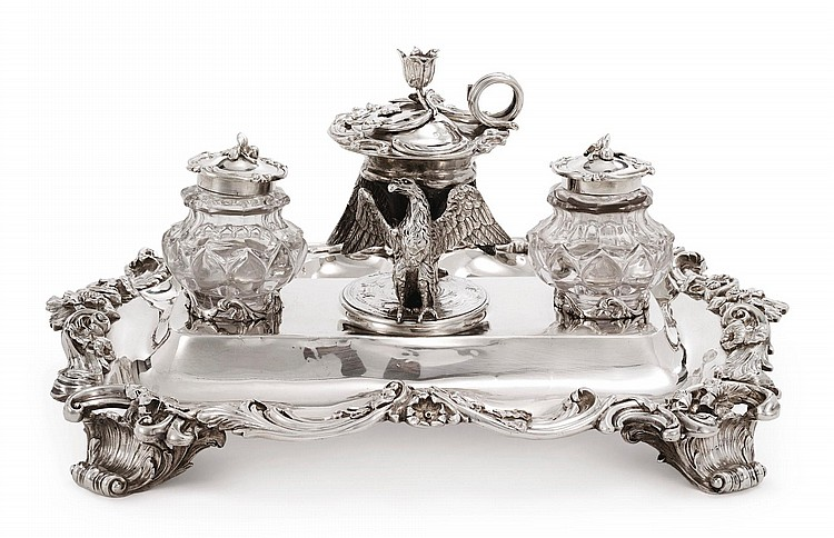 A VICTORIAN SILVER LARGE INKSTAND, BENJAMIN PRESTON, LONDON, 1832 |