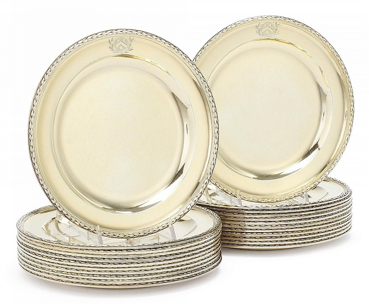 A SET OF TWENTY-THREE GEORGE III SILVER-GILT DESSERT PLATES, PAUL STORR, LONDON, 1798 |