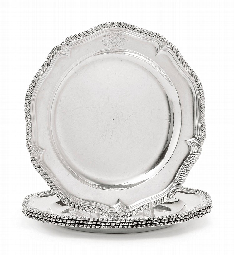 A SET OF FOUR GEORGE II SILVER SECOND COURSE DISHES, PROBABLY LONDON, CIRCA 1750 |