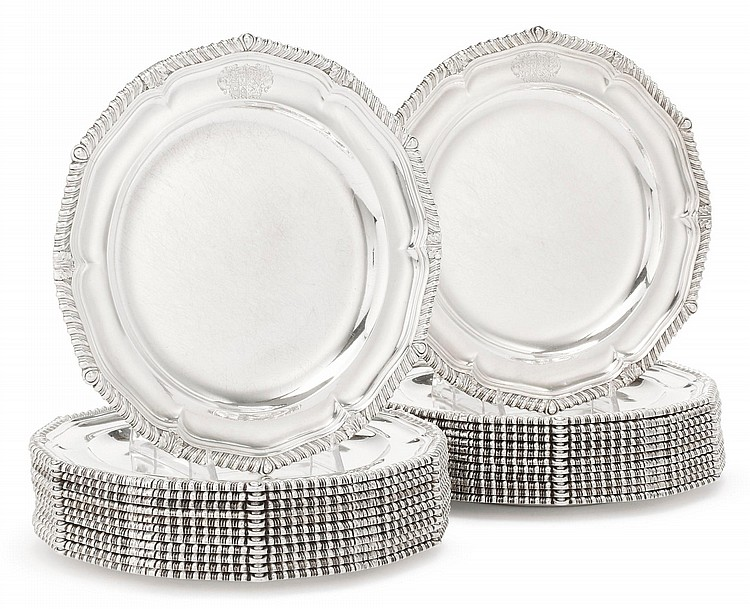 A SET OF TWENTY-FOUR GEORGE III SILVER LARGE DINNER PLATES, PAUL STORR, LONDON, 1808 |