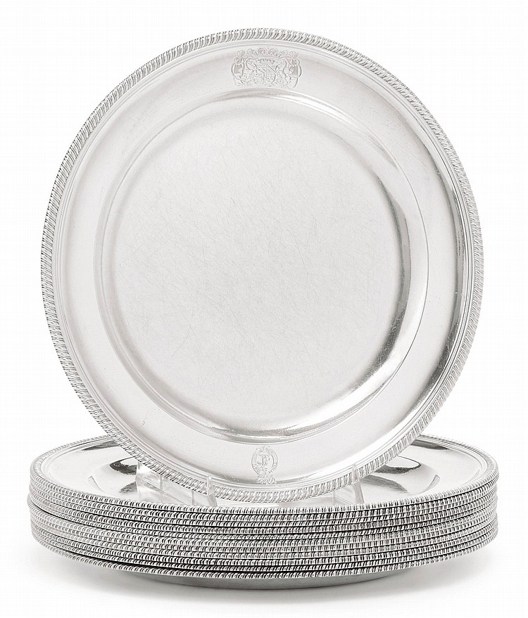 A SET OF TWELVE GEORGE III SILVER DINNER PLATES, PAUL STORR, LONDON, 1797 |