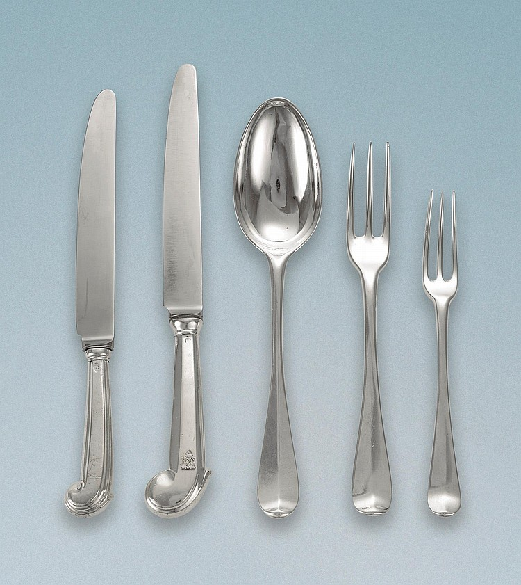 AN ASSEMBLED GEORGIAN SILVER FLATWARE SERVICE, MOST LONDON AND DUBLIN, 18TH CENTURY |
