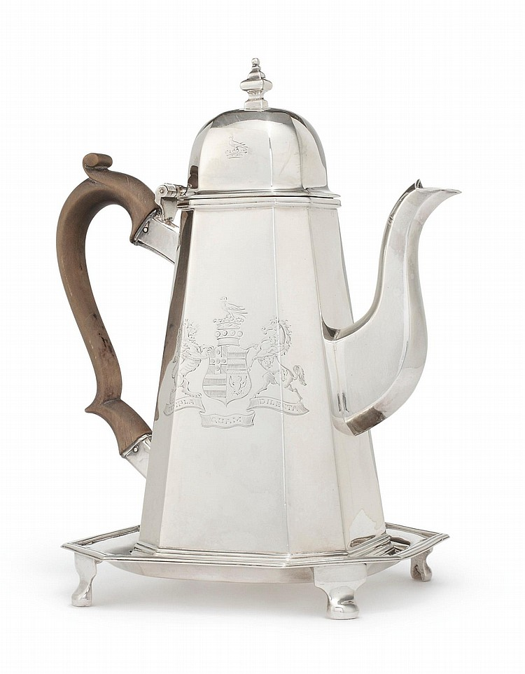 AN IRISH SILVER OCTAGONAL COFFEE POT ON STAND, WILLIAM NOLAN, DUBLIN, 1827 |
