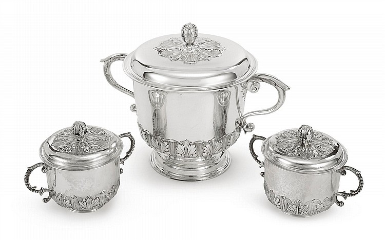 THREE SILVER CAUDLE CUPS AND COVERS IN CHARLES II STYLE, CRICHTON BROTHERS, LONDON AND PETER GUILLE, NEW YORK, 1906 AND CIRCA |