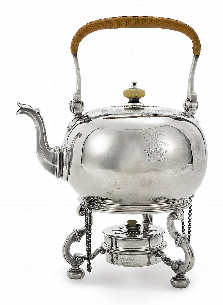 A GEORGE II SILVER KETTLE ON LAMPSTAND, JOHN WHITE, LONDON, 1729 |
