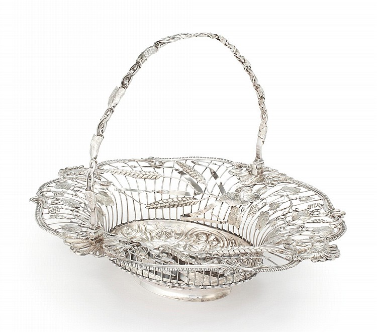 AN EARLY GEORGE III SILVER BREAD BASKET, EMICK ROMER, LONDON, 1757 |