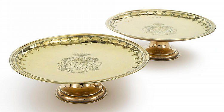 A PAIR OF WILLIAM III SILVER-GILT SALVERS ON FOOT, MAKER'S MARK V?, LONDON, 1697 |