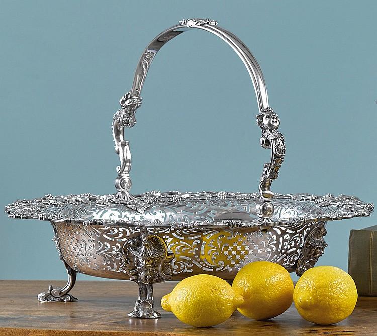 A GEORGE II SILVER LARGE BASKET, EDWARD ALDRIDGE, LONDON, 1748 |