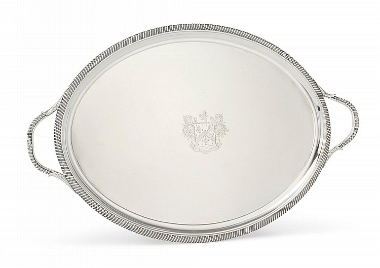 A GEORGE III SILVER TWO-HANDLED TRAY, JOHN CROUCH, LONDON, 1809 |