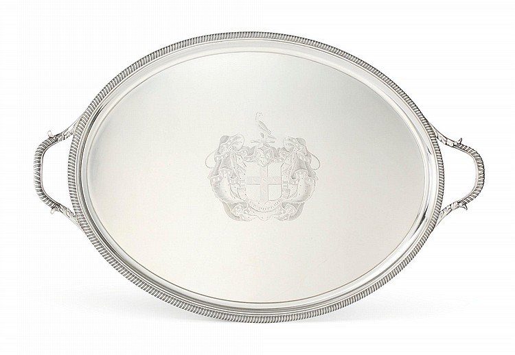 A GEORGE III SILVER TWO-HANDLED TRAY, THOMAS HANNAM & JOHN CROUCH, LONDON, 1800 |
