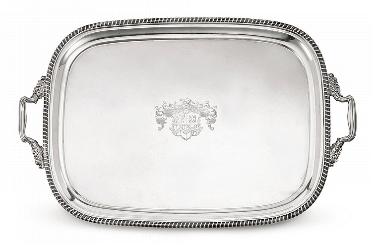 A REGENCY SILVER TWO-HANDLED TRAY, JOSEPH CRADDOCK & WILLIAM KER REID, LONDON, 1818 |