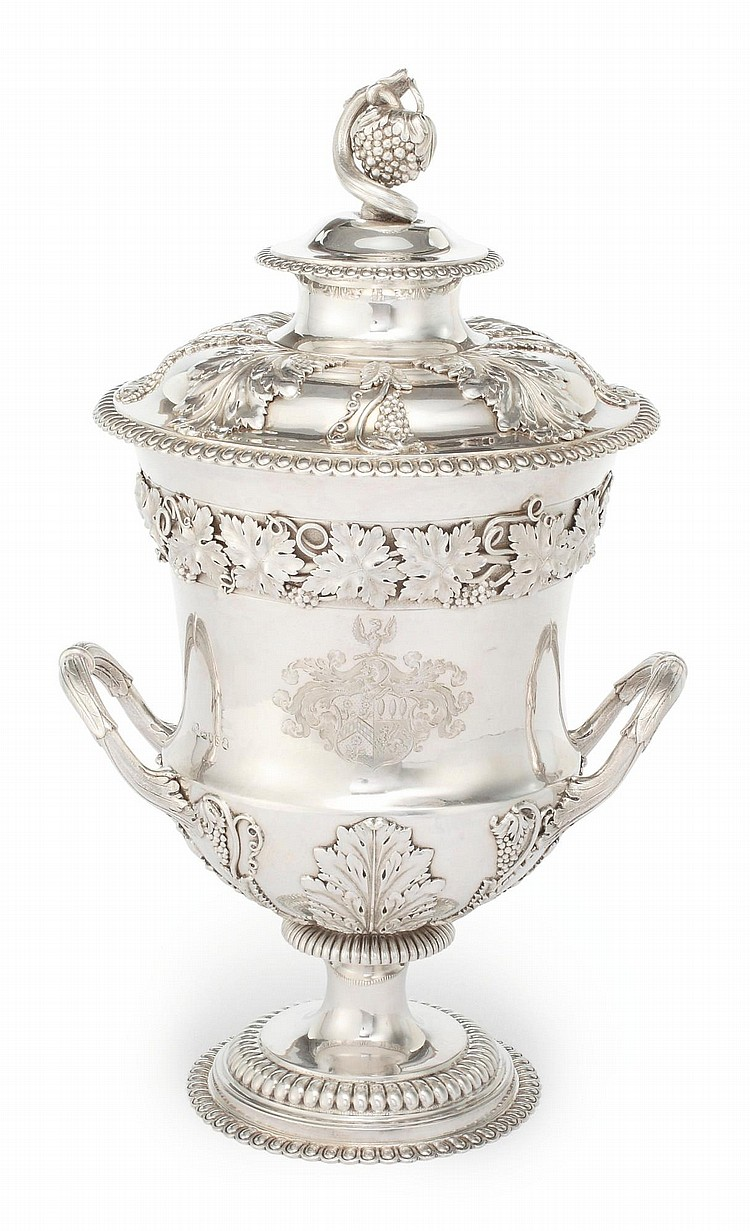 A REGENCY SILVER CUP AND COVER, WILLIAM BURWASH, LONDON, 1813 |