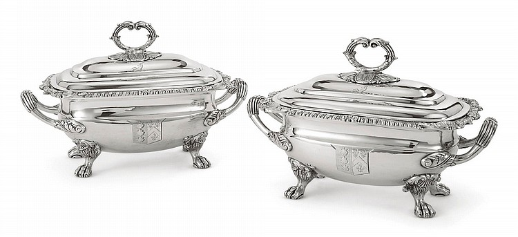 A PAIR OF GEORGE III SILVER SAUCE TUREENS AND COVERS, THOMAS ROBINS, LONDON, 1807 |
