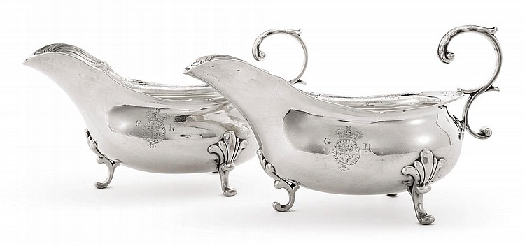 A PAIR OF LARGE GEORGE II SILVER SAUCE BOATS WITH THE ROYAL BADGE, THOMAS WHIPHAM, LONDON, 1759 |