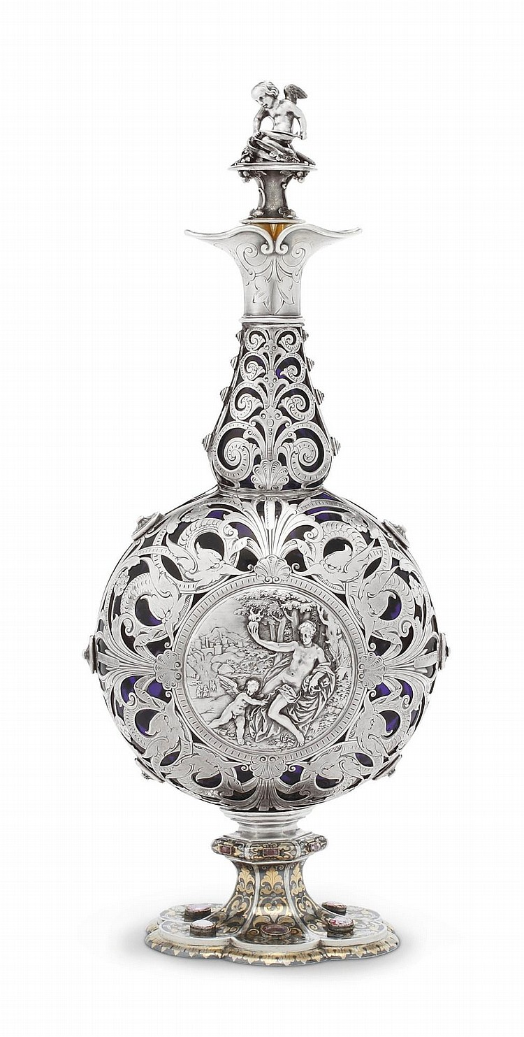 A FRENCH SILVER-MOUNTED COBALT GLASS FLASK AND STOPPER, FRANÇOIS-DÉSIRÉ FROMENT-MEURICE, PARIS, CIRCA 1870 |