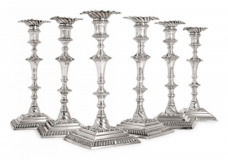 A SET OF SIX GEORGE II SILVER CANDLESTICKS, EBENEZER COKER, LONDON, 1764 |