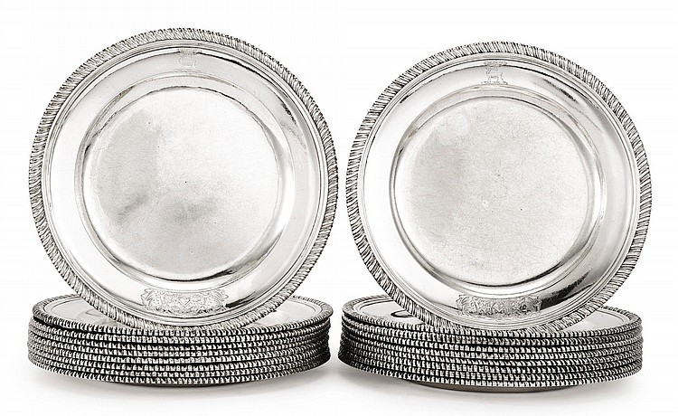 A SET OF EIGHTEEN GEORGE II SILVER PLATES, LONDON, CIRCA 1744 |