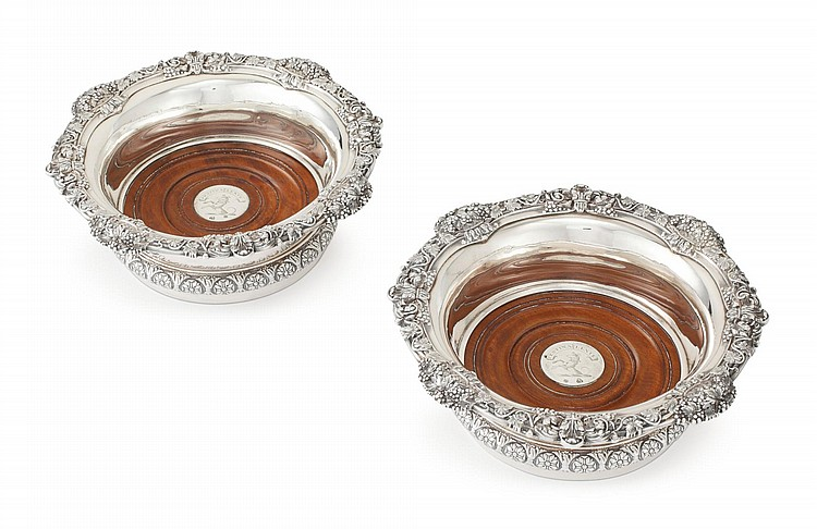 A PAIR OF GEORGE IV SILVER WINE COASTERS, JOHN BRIDGE FOR RUNDELL, BRIDGE AND RUNDELL, LONDON, 1825 |