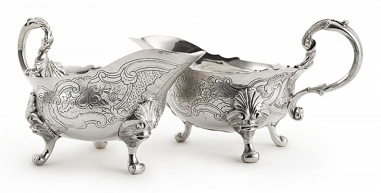 A PAIR OF GEORGE II SAUCE BOATS, JOHN POLLOCK, LONDON, 1736 |