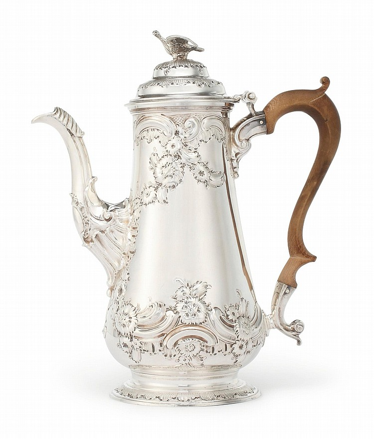 A GEORGE II SILVER COFFEE POT, WILLIAM SHAW II & WILLIAM PREIST, LONDON, 1754 |