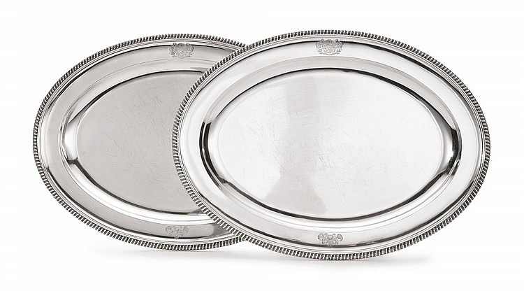 A PAIR OF GEORGE III SILVER LARGE MEAT PLATTERS, WILLIAM STROUD, LONDON, 1802 |