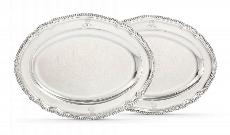 A PAIR OF GEORGE III SILVER OVAL MEAT PLATTERS WITH THE ROYAL ARMS, ANDREW FOGELBERG & STEPHEN GILBERT, LONDON, 1791 |