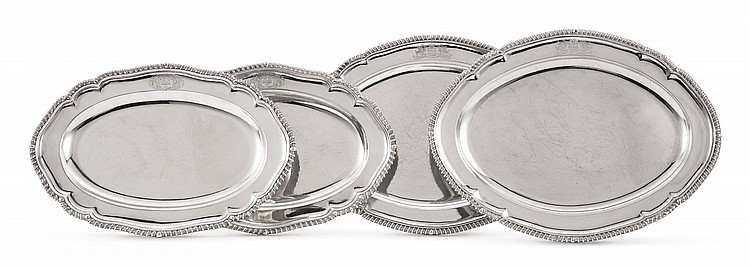 TWO PAIRS OF GEORGIAN SILVER MEAT PLATTERS, FREDERICK KANDLER AND FOGELBERG & GILBERT, LONDON, 1756/60 AND 1781 |