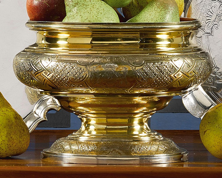 A GEORGE II SILVER-GILT TUREEN-FORM CENTERPIECE, CIRCA 1735 |