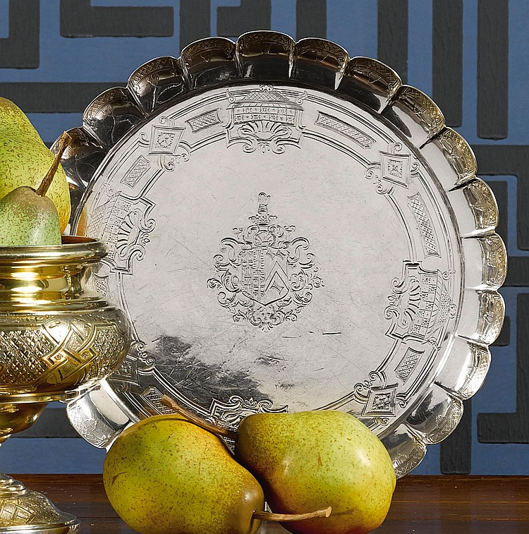 A GEORGE II SILVER SALVER, EDWARD FELINE, LONDON, 1734 |