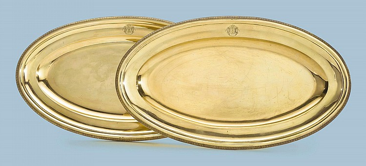 A PAIR OF ITALIAN SILVER-GILT FISH PLATTERS FROM THE BORGHESE SERVICE, SCHEGGI BROS., FLORENCE, CIRCA 1820 |