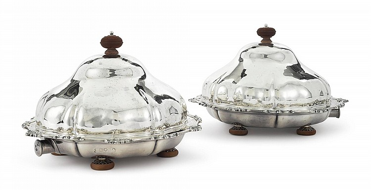 A PAIR OF GEORGE IV SILVER MUFFIN DISHES AND COVERS, GARRARD & CO., LONDON, 1823 |