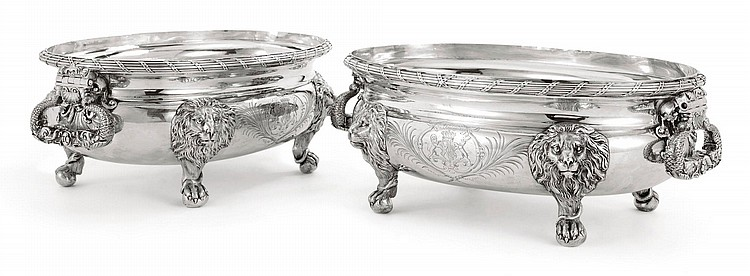A PAIR OF GEORGE II SILVER TUREENS, JOHN WAKELIN & ROBERT GARRARD, LONDON, 1800-01 |