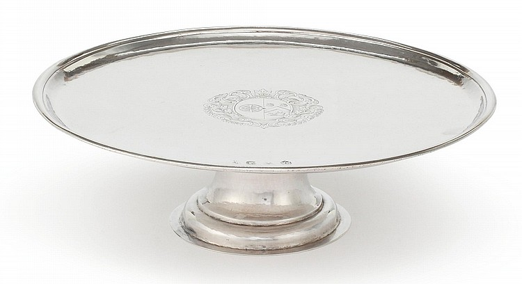 A QUEEN ANNE SILVER SALVER ON FOOT, JACOB MARGAS, LONDON, 1706 |