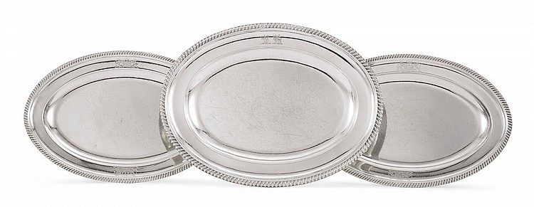 A PAIR OF GEORGE III SILVER MEAT PLATTERS, JAMES YOUNG, LONDON, 1791 |