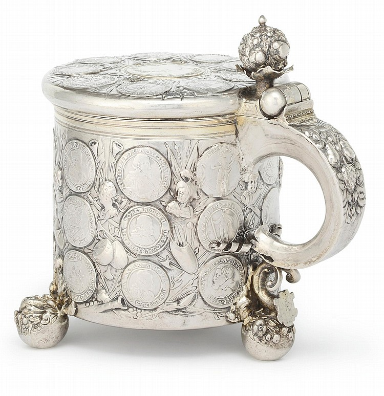 A BALTIC SILVER COIN-SET TANKARD, DANIEL DANKMEYER, MITTAU, LATE 17TH CENTURY |