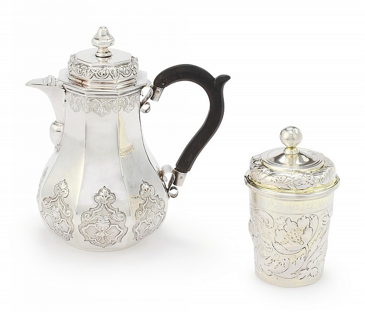 A GERMAN SILVER OCTAGONAL COFFEE POT AND PARCEL-GILT COVERED BEAKER, AUGSBURG, CIRCA 1720 / 1681 |