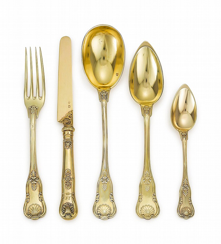 A FRENCH SILVER-GILT KINGS PATTERN DESSERT SERVICE, PARIS, CIRCA 1830 |