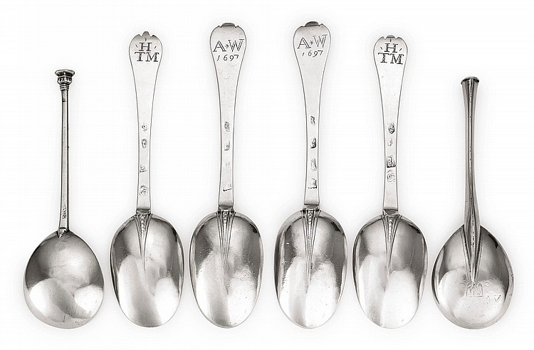 SIX SILVER SPOONS, 17TH CENTURY |