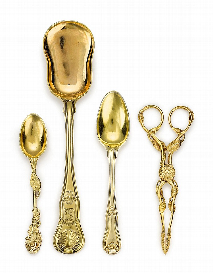 A GROUP OF GEORGE III SILVER-GILT FLATWARE, CIRCA 1760-65 / 1806 |