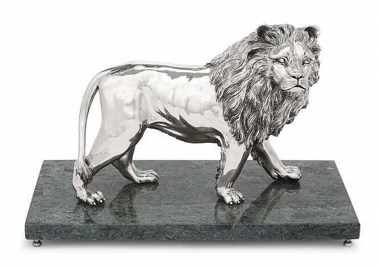 AN ITALIAN SILVER FIGURE OF A LION, FLORENCE, 20TH CENTURY |